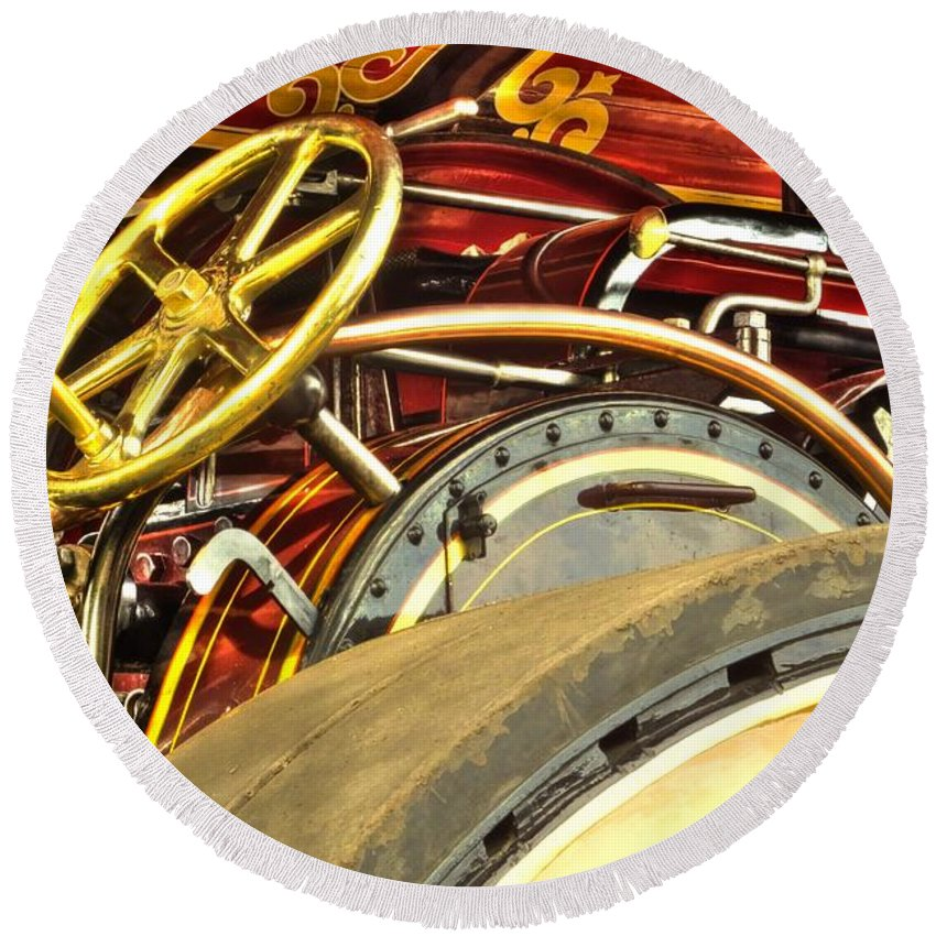Traction Round Beach Towel featuring the photograph Traction Engine Steering Mechanism by Catchavista