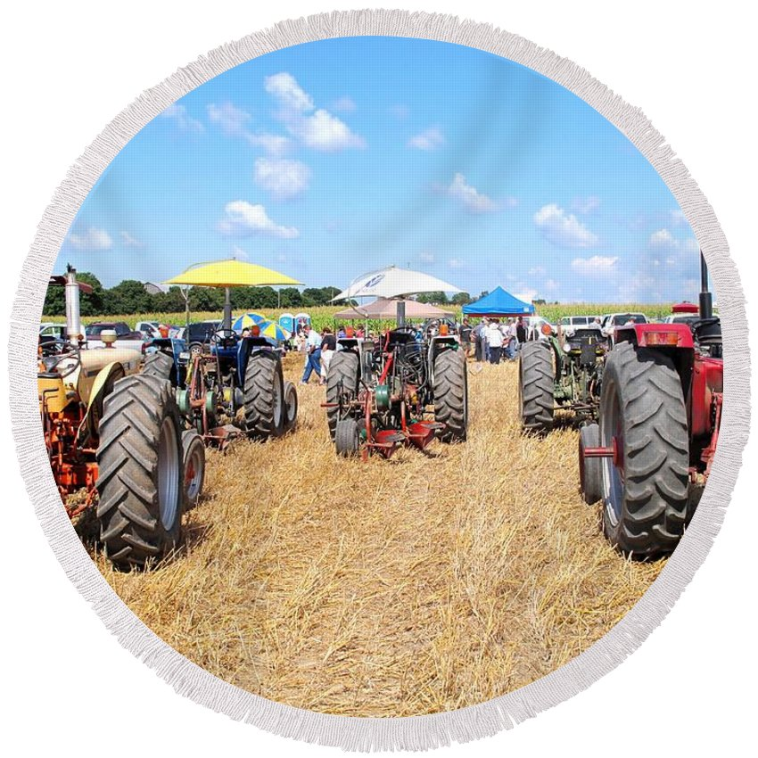 Tractors Round Beach Towel featuring the photograph Tractor City by Ian MacDonald