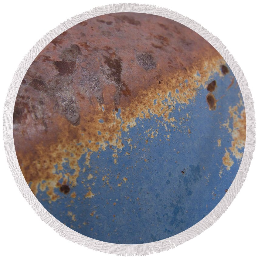 Rust Round Beach Towel featuring the photograph Tractor Decomposition by Jeffery Ball
