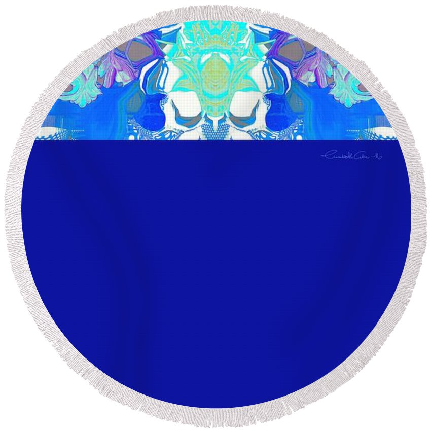 Abstract Round Beach Towel featuring the digital art Tradition Blue by Elisabeth Skajem Atter