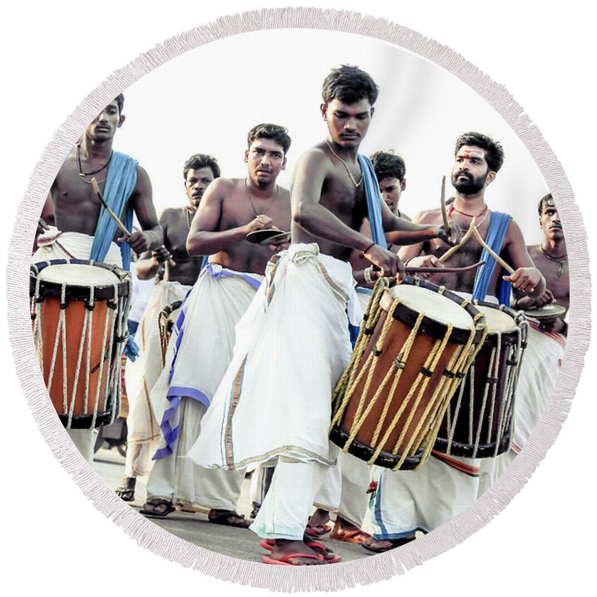 Asia Round Beach Towel featuring the photograph Traditional Drummers by Jijo George