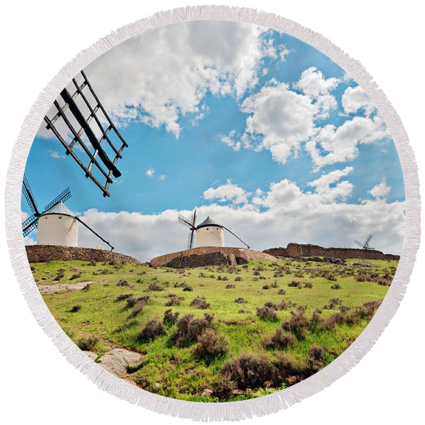 Anna Maloverjan Round Beach Towel featuring the photograph Traditional White Windmills by Anna Maloverjan