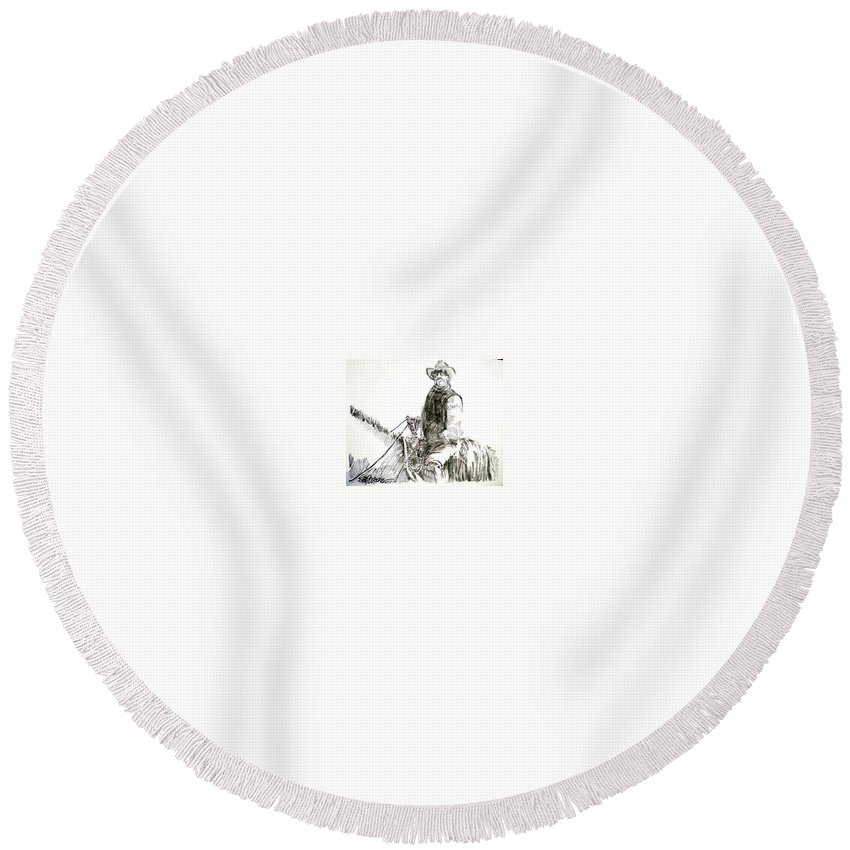 Trail Boss Round Beach Towel featuring the drawing Trail Boss by Seth Weaver