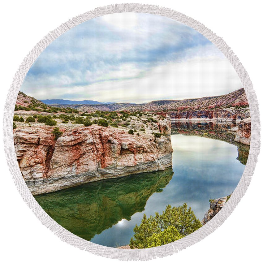 Trail Creek Round Beach Towel featuring the photograph Trail Creek Canyon by Gary Beeler