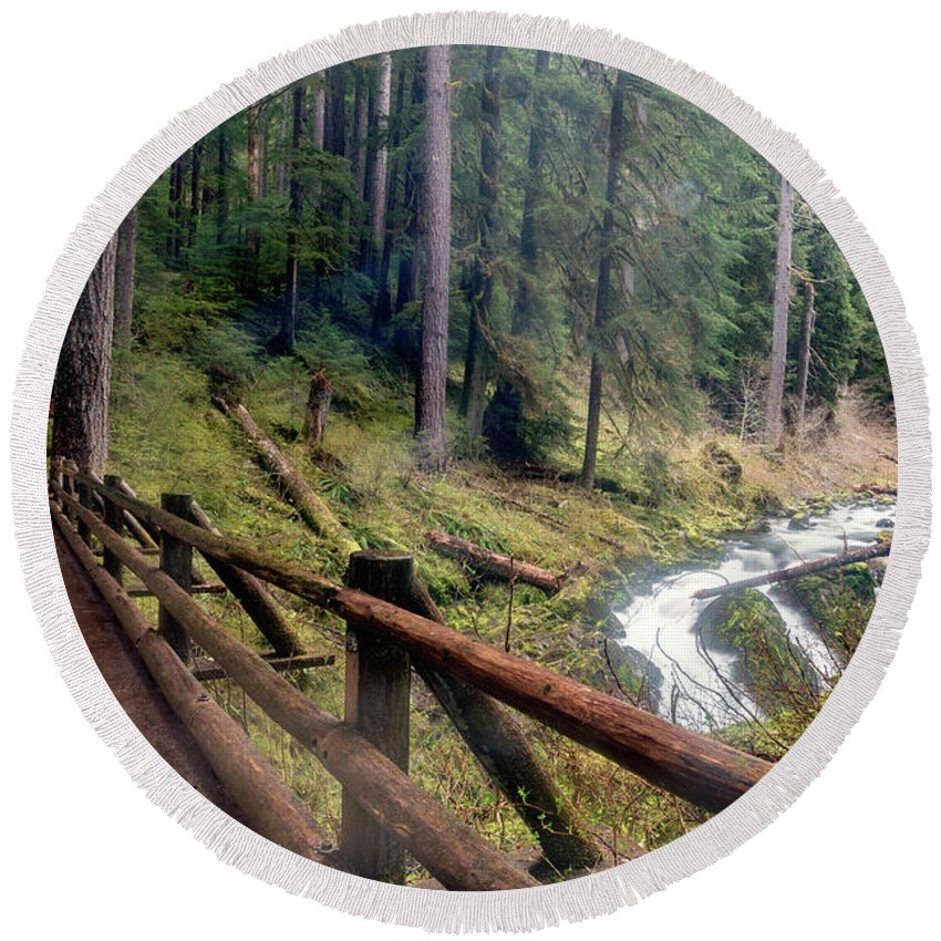 Olympic National Park Round Beach Towel featuring the photograph Trail Over Sol Duc Falls Bridge In Olympic National Park by Brandon Alms