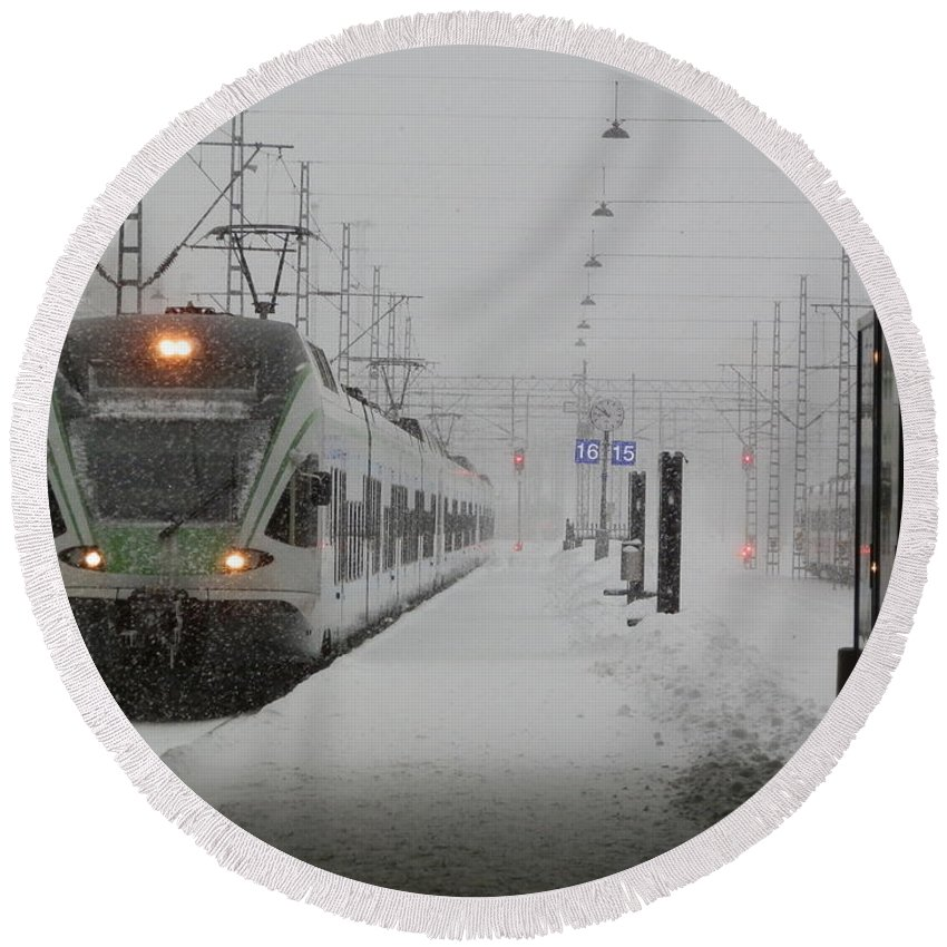 Helsinki Round Beach Towel featuring the photograph Train In Helsinki by Margaret Brooks