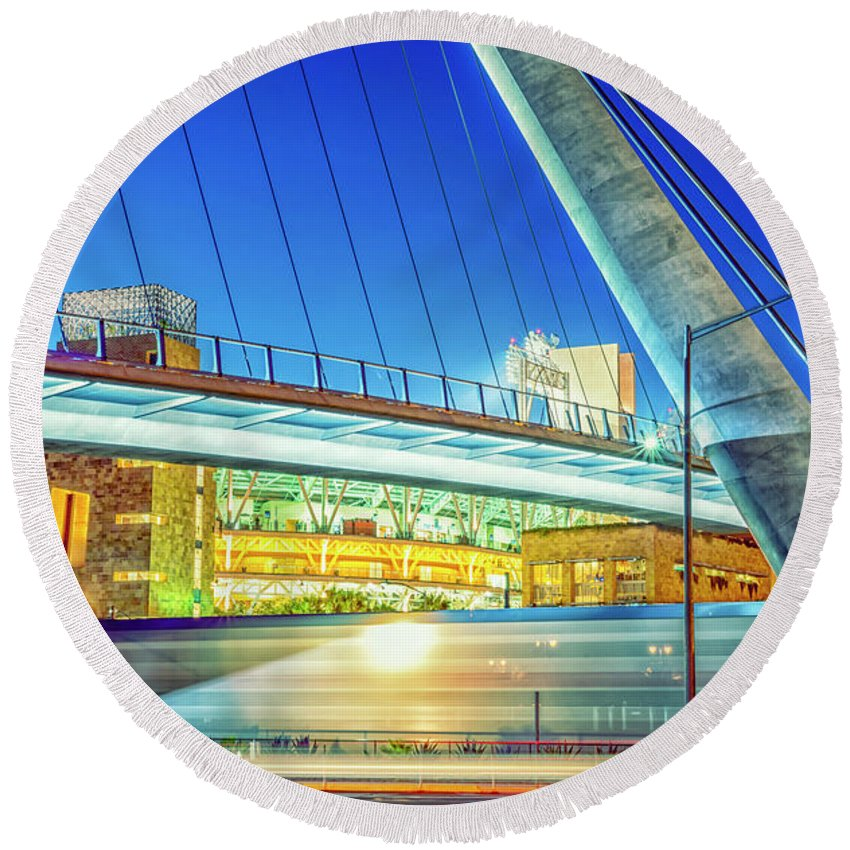 San Diego Round Beach Towel featuring the photograph Train Keeps A Rollin by Joseph S Giacalone