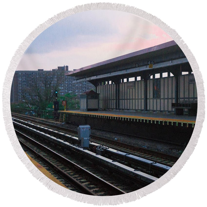 Train Station Round Beach Towel featuring the photograph Train Station by Chris Baboolal