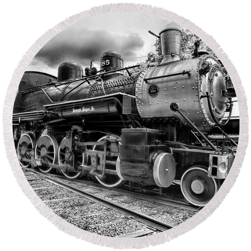 Paul Ward Round Beach Towel featuring the photograph Train - Steam Engine Locomotive 385 In Black And White by Paul Ward