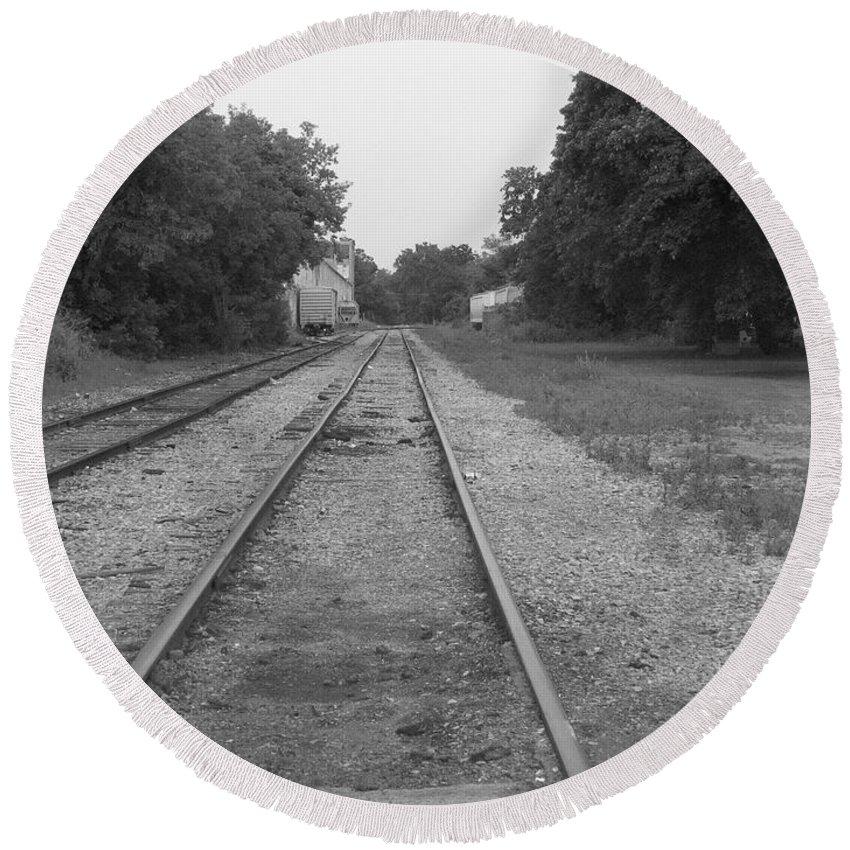 Train Round Beach Towel featuring the photograph Train To Nowhere by Rhonda Barrett