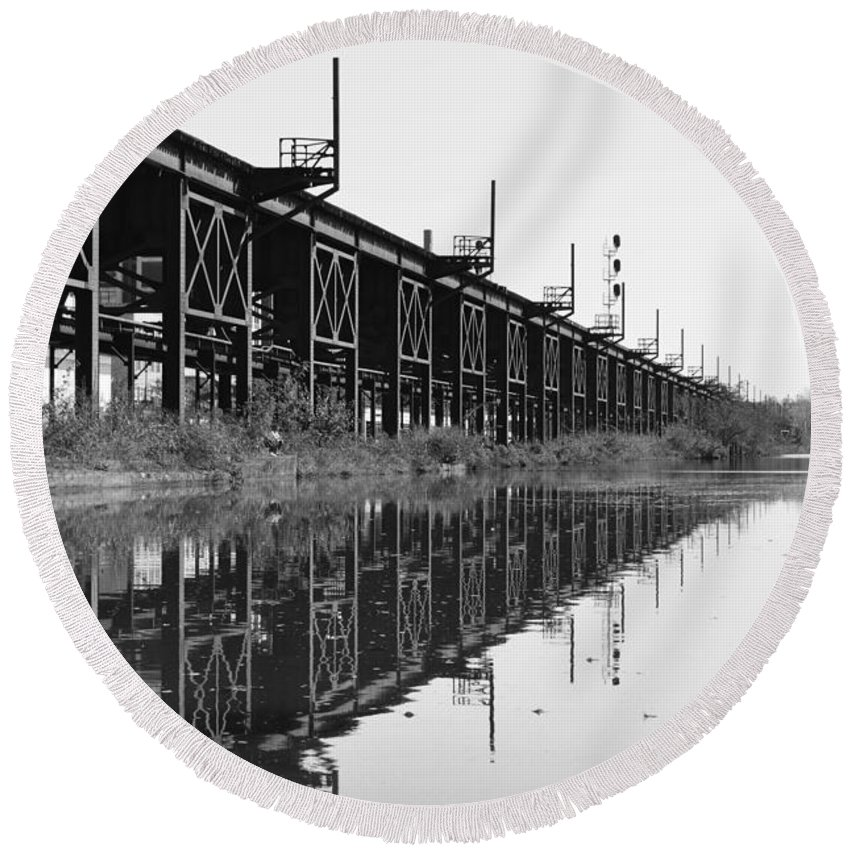 Richmond Round Beach Towel featuring the photograph Train Track Reflections by Aaron Dishner