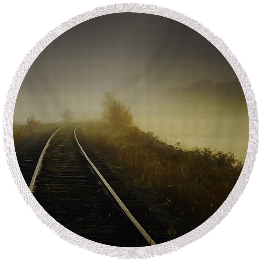 Train Tracks Round Beach Towel featuring the photograph Train Tracks Into The Morning Fog With Lake by Chester Wiker