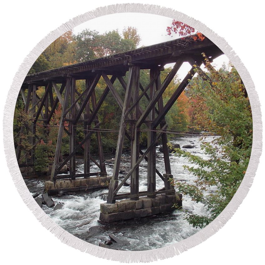 Franklin Round Beach Towel featuring the photograph Train Tracks Over The Winnipesaukee River by Catherine Gagne