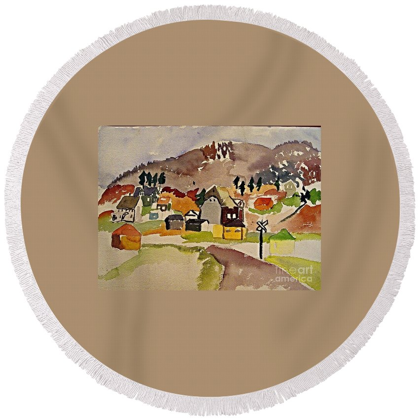 New England Round Beach Towel featuring the painting Train Whistle Stop Village by Jeri Borst