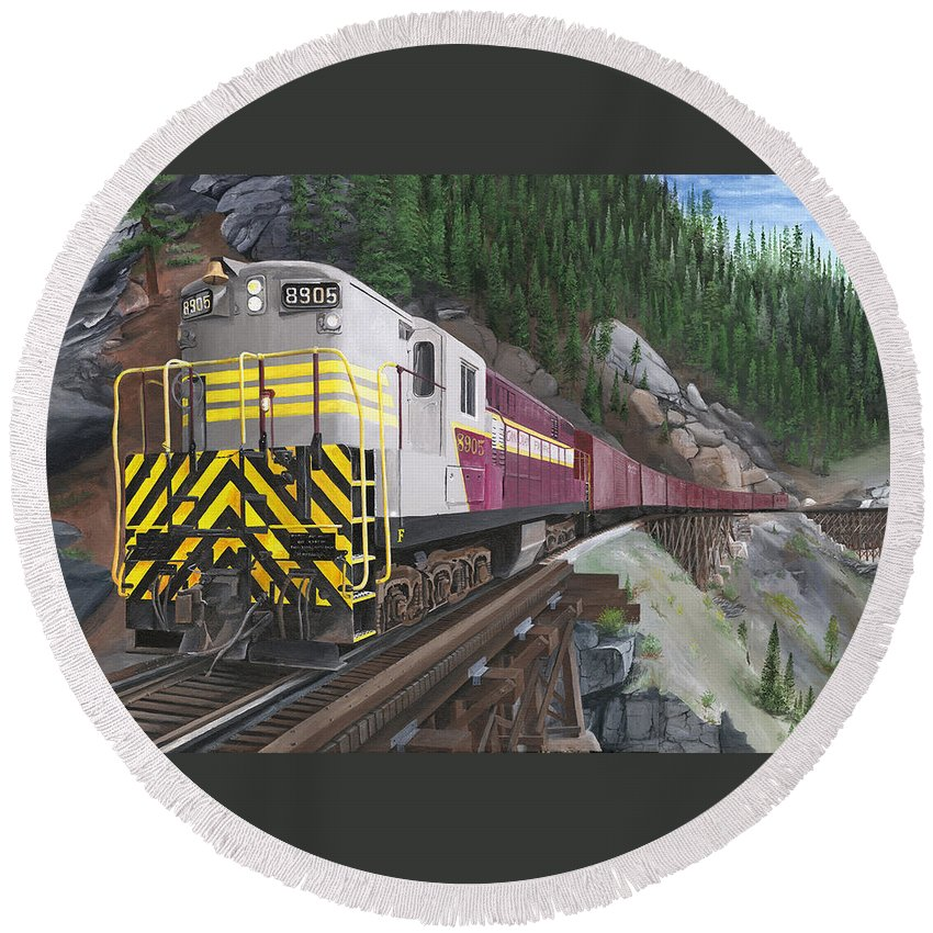 Trainmaster;myra Canyon;cp Rail:kettle Valley;trestles;landscapes;trains Round Beach Towel featuring the painting Trainmaster At Myra by Glen Frear