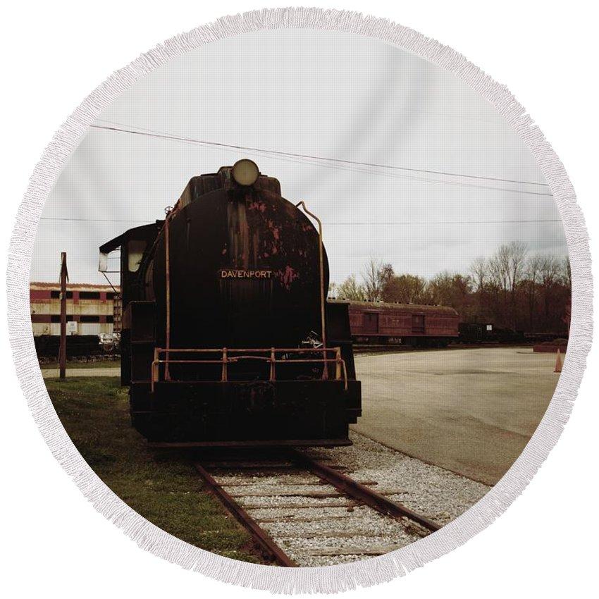 Train Round Beach Towel featuring the photograph Trains 3 Retro by Jay Mann