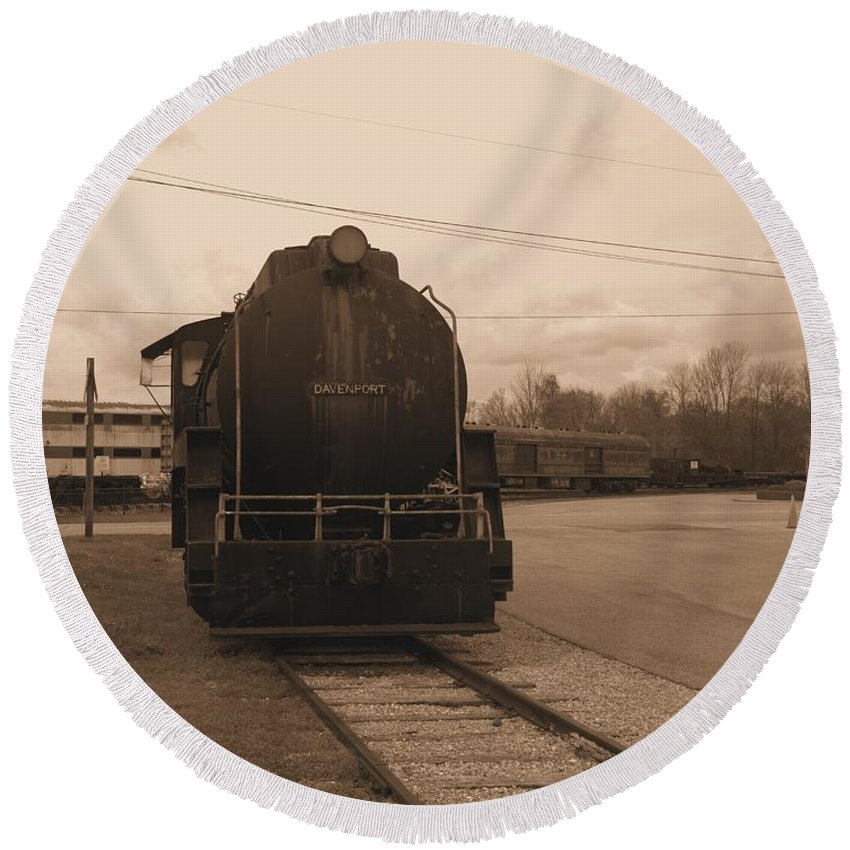 Train Round Beach Towel featuring the photograph Trains 3 Sepia by Jay Mann
