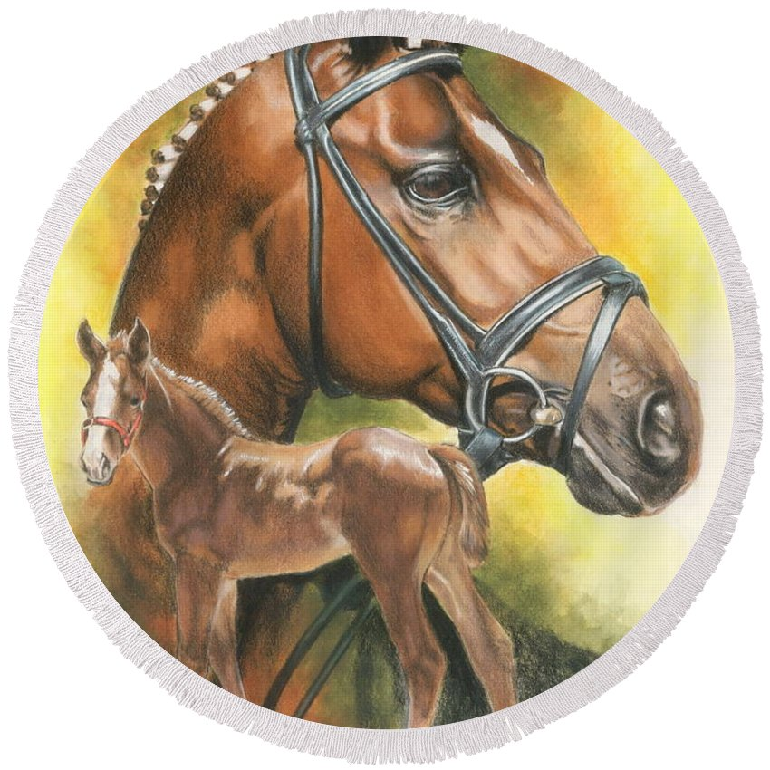 Jumper Hunter Round Beach Towel featuring the mixed media Trakehner by Barbara Keith
