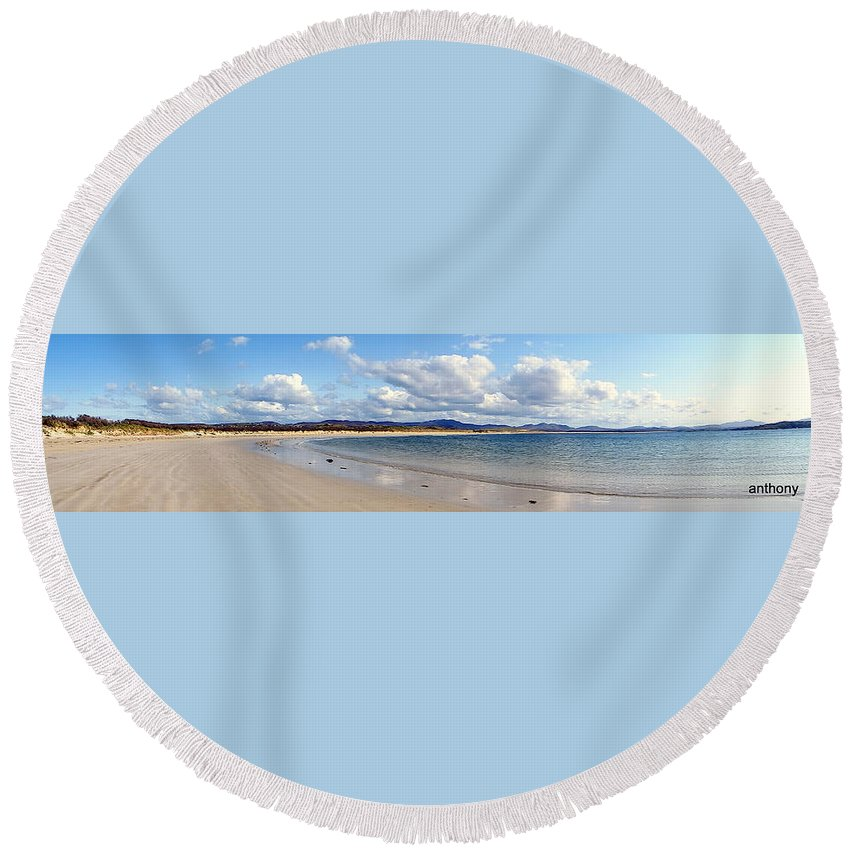 Landscape Round Beach Towel featuring the photograph Tramore Beach Donegal by Anthony Gallagher