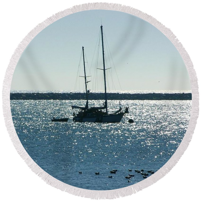 Seascape Round Beach Towel featuring the photograph Tranquil Bay by Carol Groenen