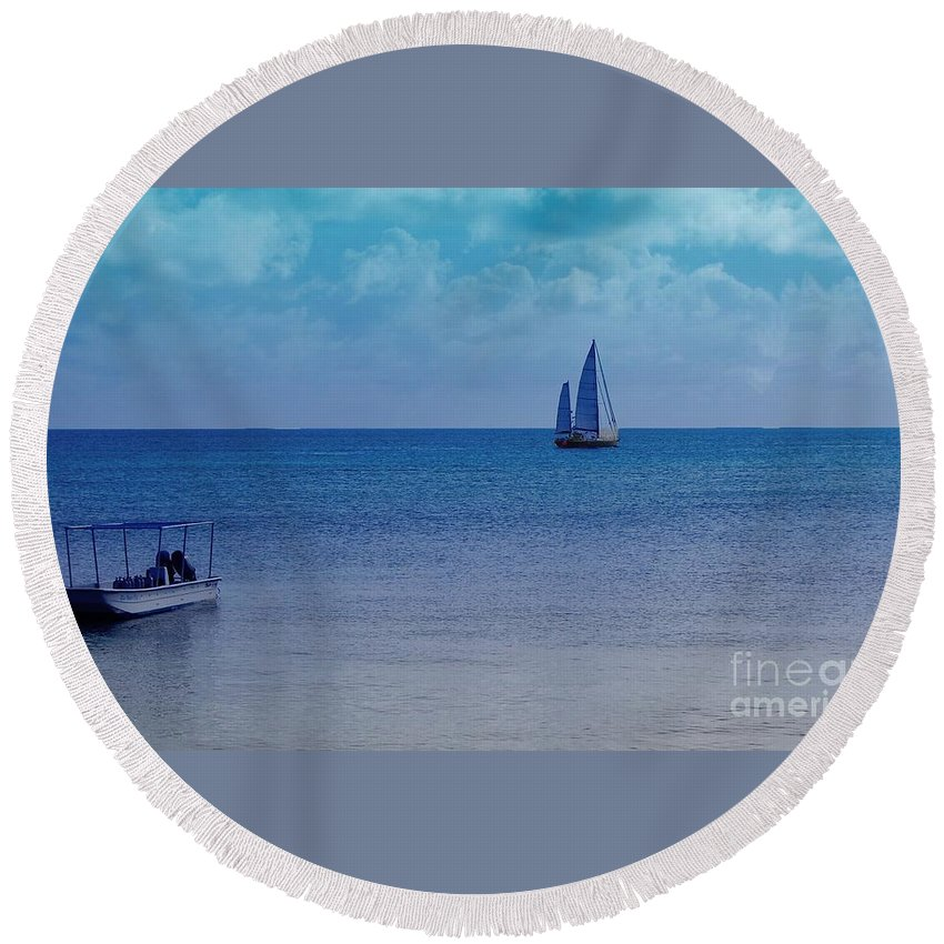 Water Round Beach Towel featuring the photograph Tranquil Blue by Debbi Granruth