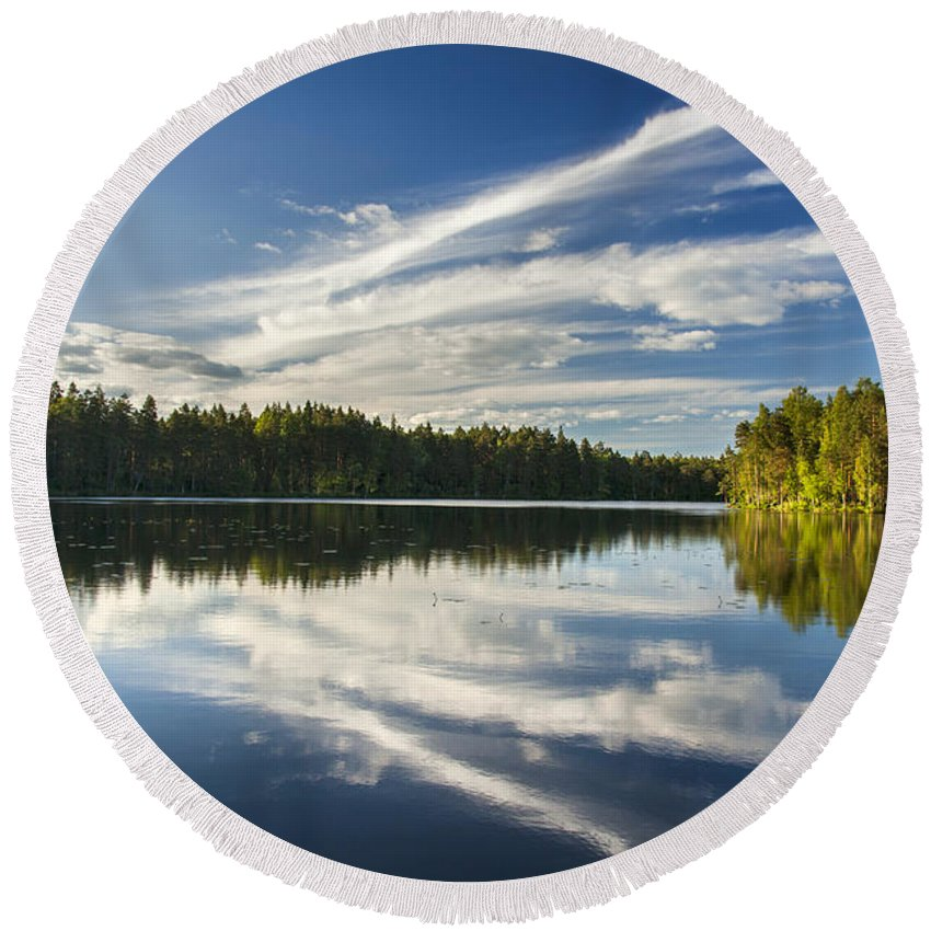 Clean Round Beach Towel featuring the photograph Tranquil Lake In Finland by Sandra Rugina