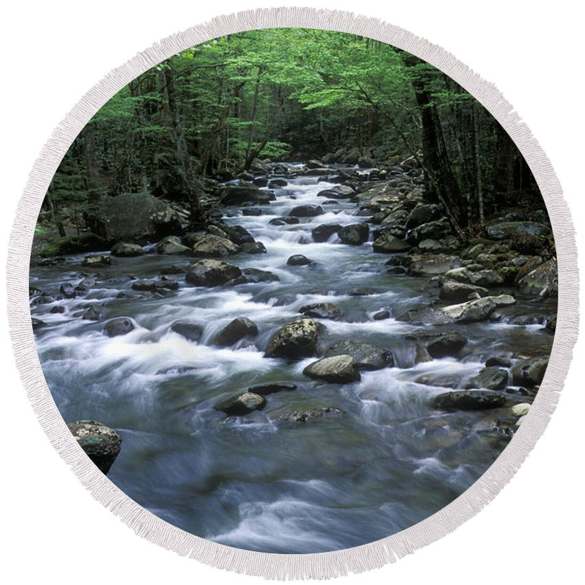 Great Smoky Mountains Round Beach Towel featuring the photograph Tranquil Moments On Little Pigeon Creek by Sandra Bronstein