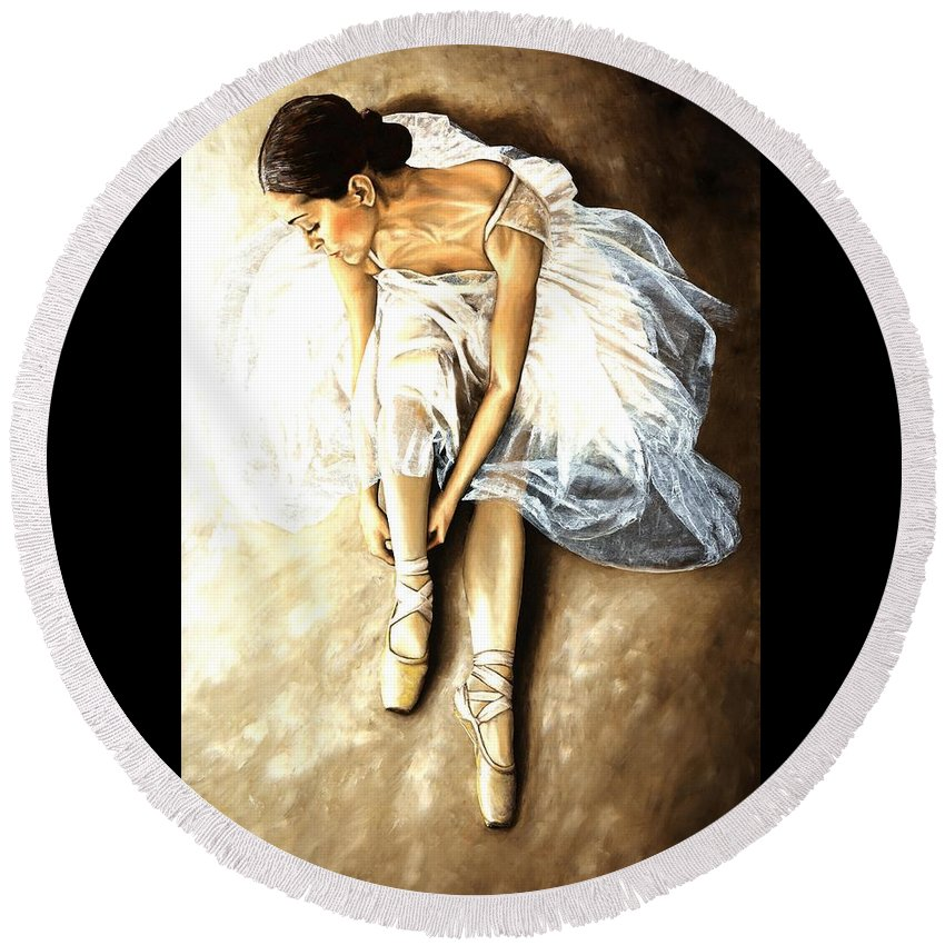 Ballet Round Beach Towel featuring the painting Tranquil Preparation by Richard Young