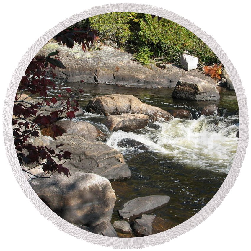 River Round Beach Towel featuring the photograph Tranquil Spot by Kelly Mezzapelle