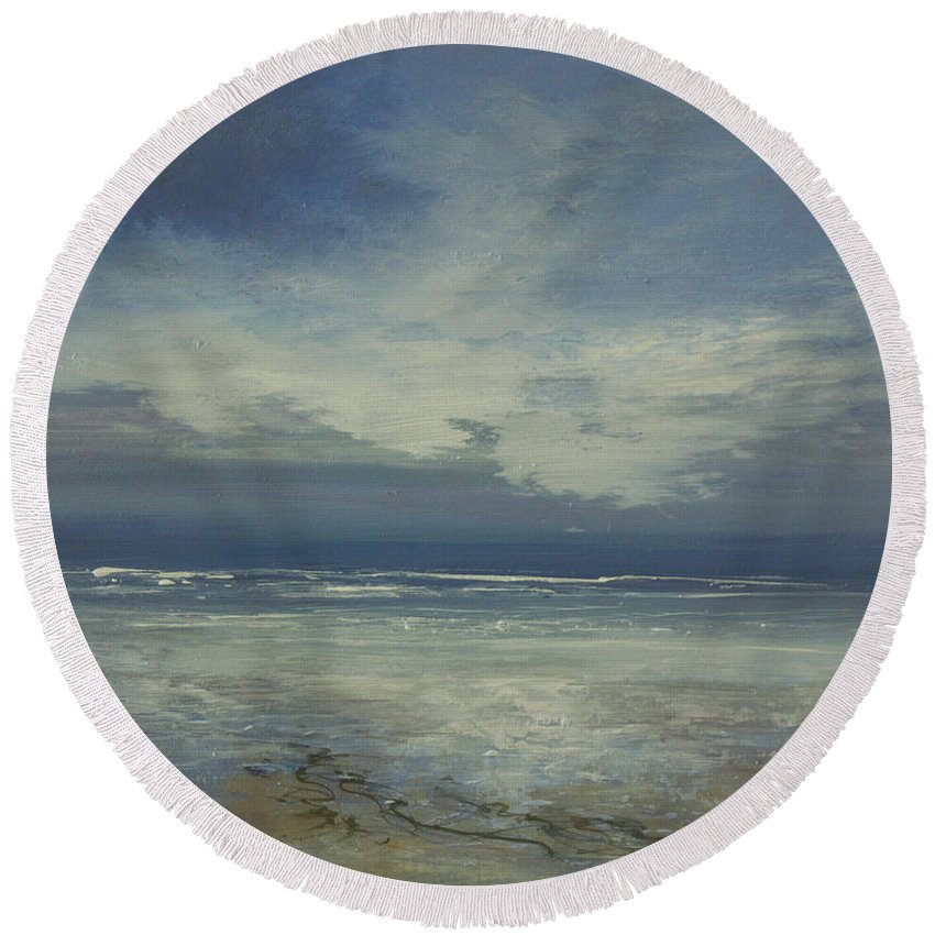 Seascape Round Beach Towel featuring the painting Tranquil by Valerie Travers