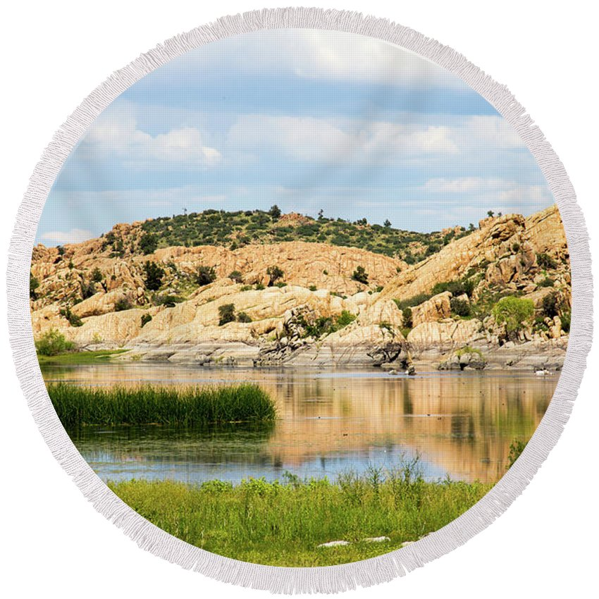 Landscape Round Beach Towel featuring the photograph Tranquil Willow Lake by Amy Sorvillo