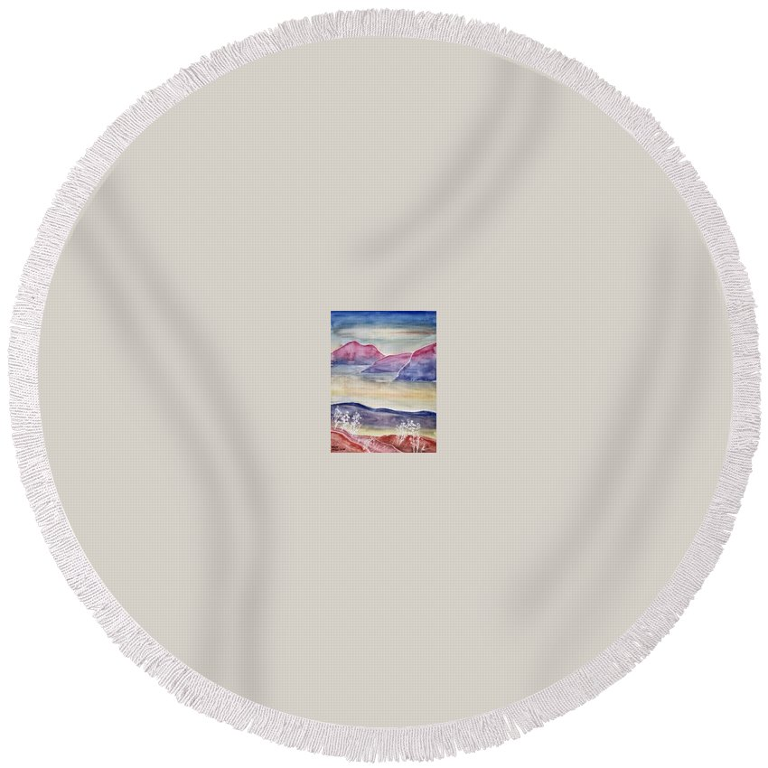 Watercolor Round Beach Towel featuring the painting Tranquility 2 Mountain Modern Surreal Painting Print by Derek Mccrea