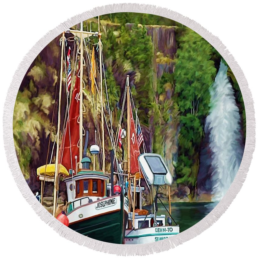 Boats Round Beach Towel featuring the painting Tranquility by David Wagner