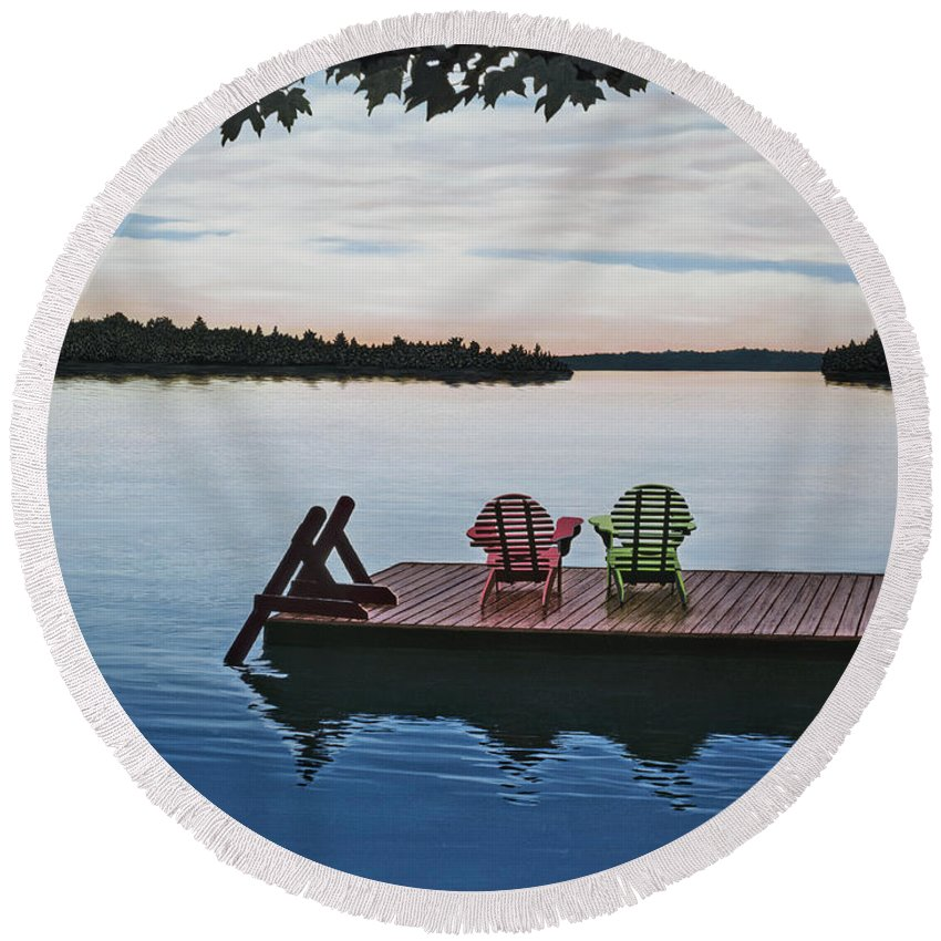Landscapes Paintings Round Beach Towel featuring the painting Tranquility by Kenneth M Kirsch