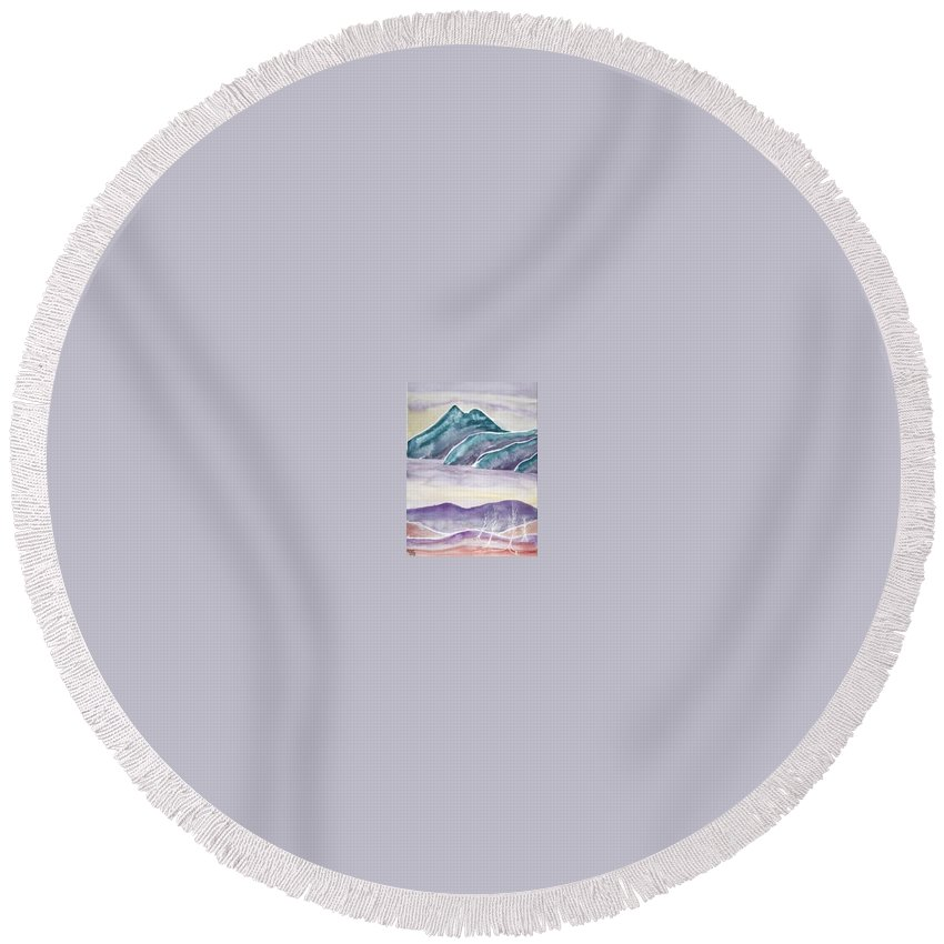 Watercolor Round Beach Towel featuring the painting Tranquility Landscape Mountain Surreal Modern Fine Art Print by Derek Mccrea