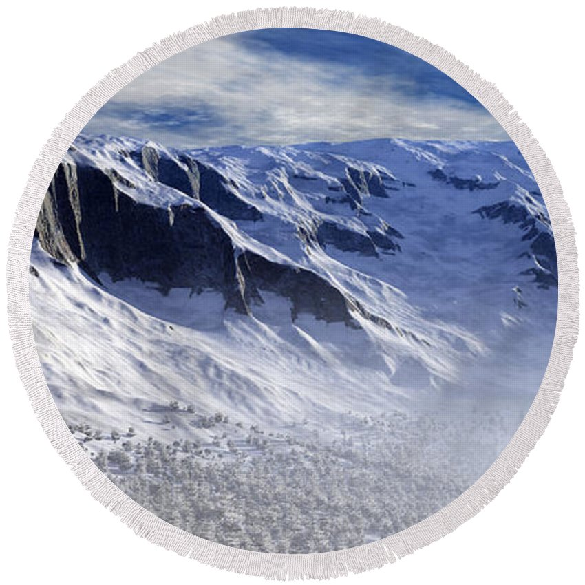 Mountains Round Beach Towel featuring the digital art Tranquility by Richard Rizzo