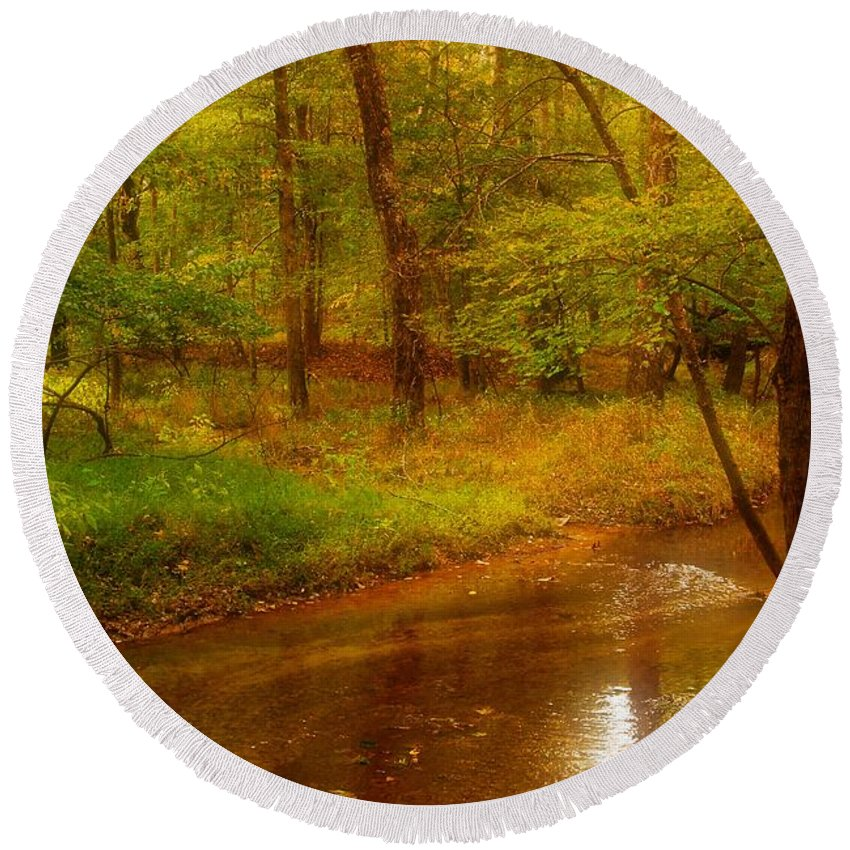 New Jersey Round Beach Towel featuring the photograph Tranquility Stream - Allaire State Park by Angie Tirado
