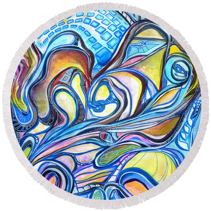 New Round Beach Towel featuring the painting Transcending Mutations - 2 by Larry Calabrese