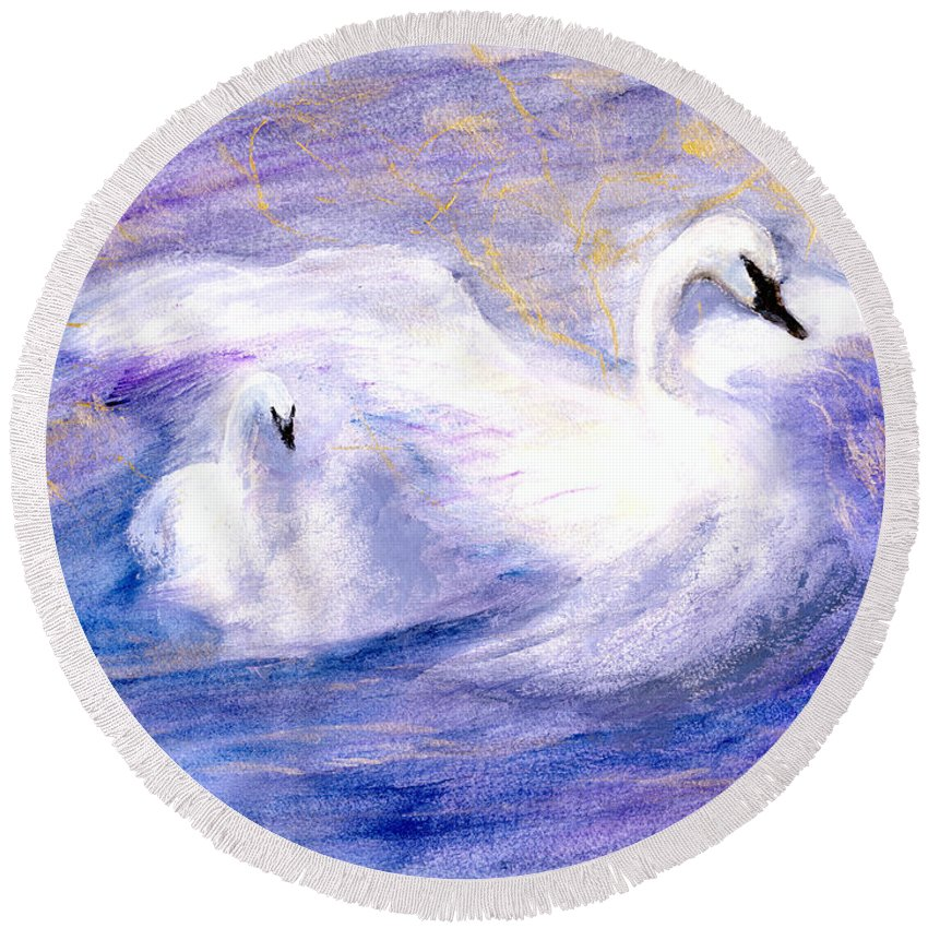 Birds Round Beach Towel featuring the painting Transformation by Gail Kirtz