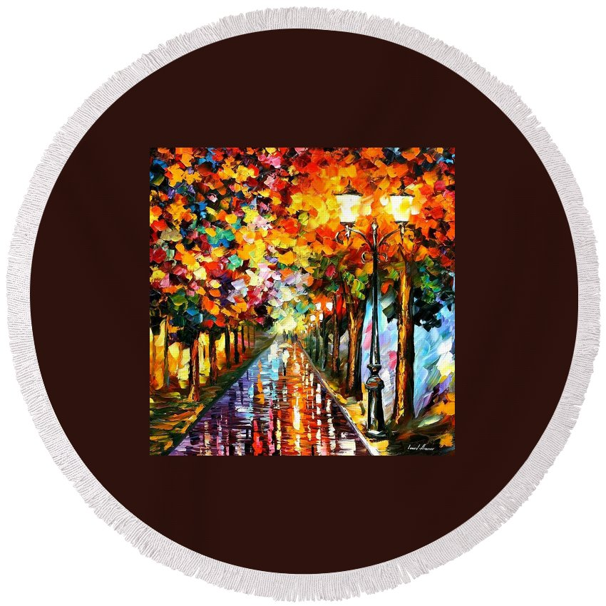 Afremov Round Beach Towel featuring the painting Transformation Of The Night by Leonid Afremov