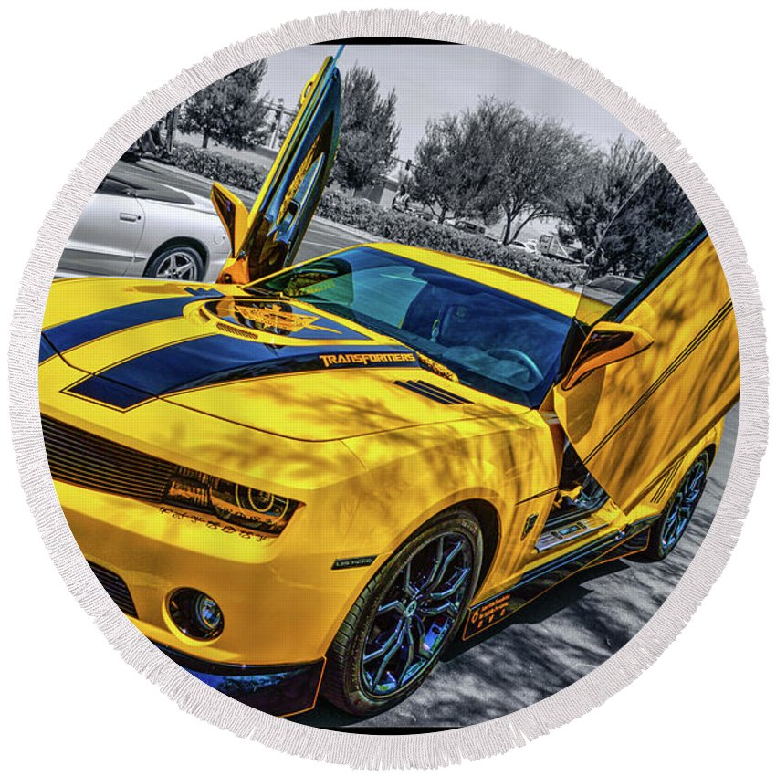 Chevy Camaro Round Beach Towel featuring the photograph Transformers Bumble Bee 2 by Tommy Anderson