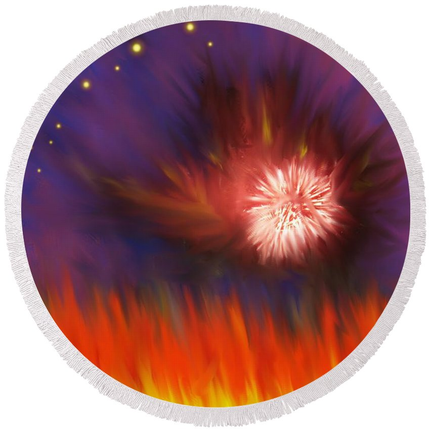 Abstract Round Beach Towel featuring the digital art Transition Four by Ian MacDonald
