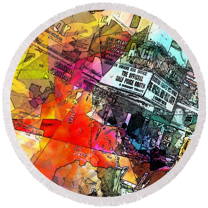 City. Colors Round Beach Towel featuring the digital art Translate by Agnes V