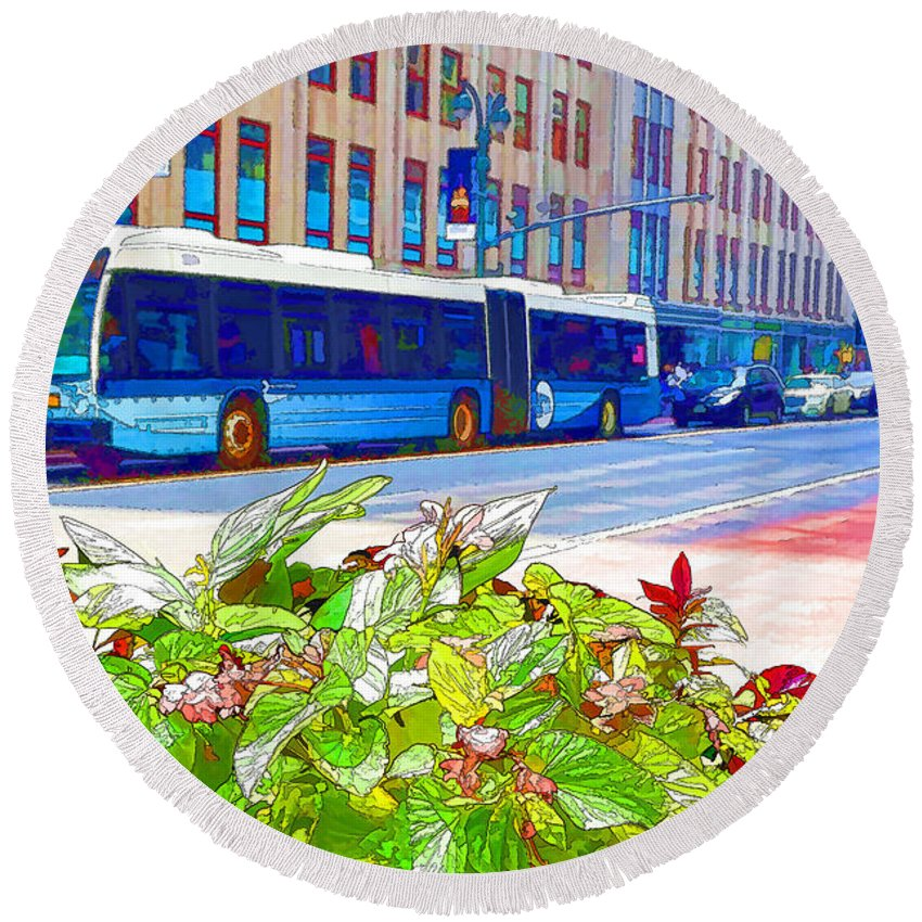 Skyscraper Round Beach Towel featuring the painting Transportation In New York 4 by Jeelan Clark