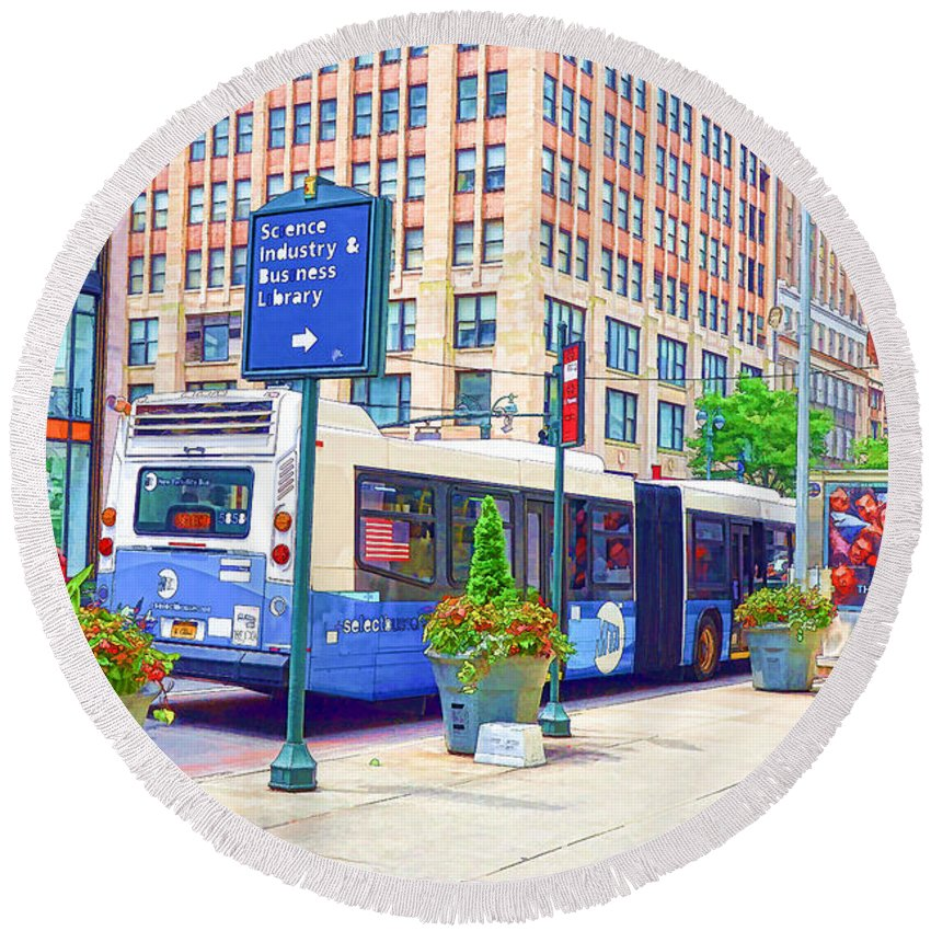 Skyscraper Round Beach Towel featuring the painting Transportation In New York 6 by Jeelan Clark