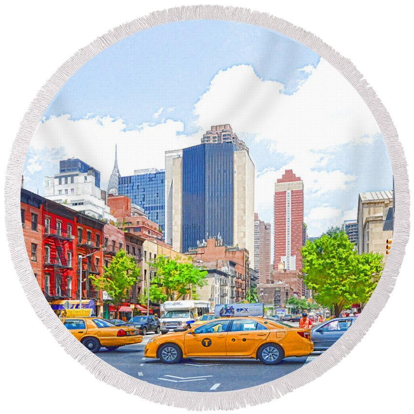 Skyscraper Round Beach Towel featuring the painting Transportation In New York 8 by Jeelan Clark