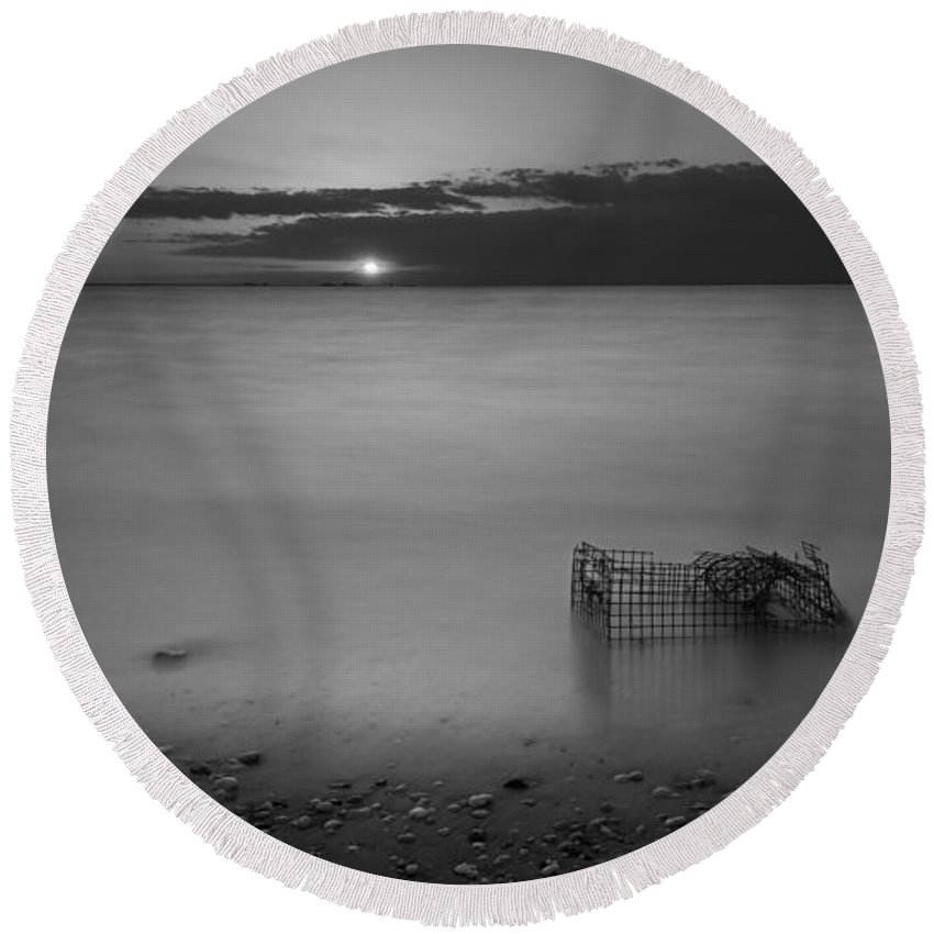 Sandy Hook Round Beach Towel featuring the photograph Trapped Bw by Michael Ver Sprill