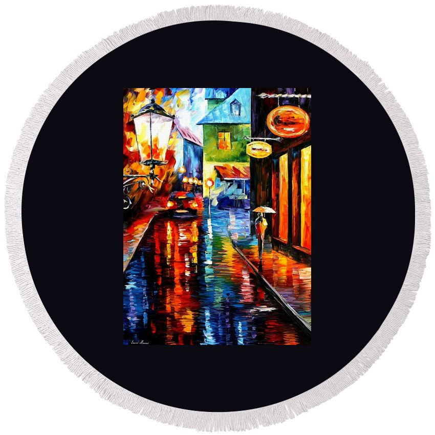 Afremov Round Beach Towel featuring the painting Trapped Inside Blue Rain by Leonid Afremov