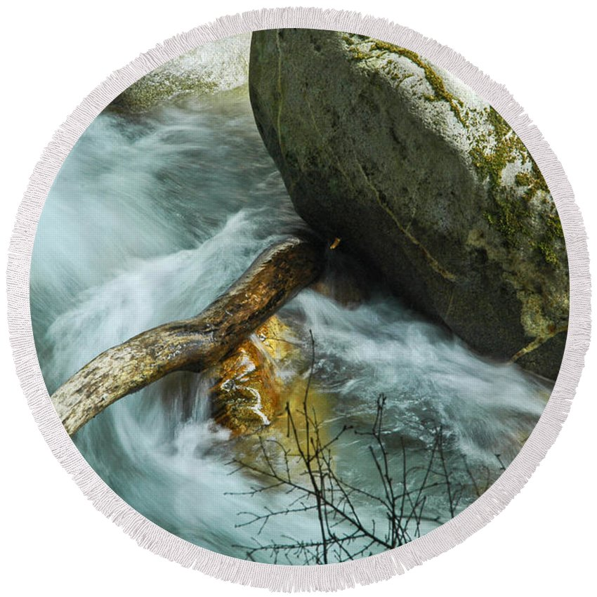 Log Round Beach Towel featuring the photograph Trapped River Log by George E Richards
