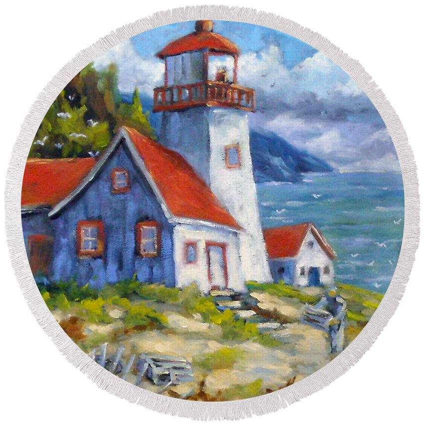 Art Round Beach Towel featuring the painting Traps And Lighthouse by Richard T Pranke